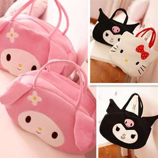 Kawaii Cartoon My Melody Hello Kitty Demon Soft Cotton Shopping Bag Travel Storage Bag mochila Girls Christmas Gifts Sac a Main