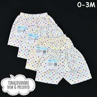 NEW Miyo 4pcs Celana Pendek Bayi/Baby Motif Polkadot Newborn 0-3 Bulan