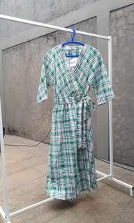 Korean Kimono Dress Kotak-kotak Wrap Terusan