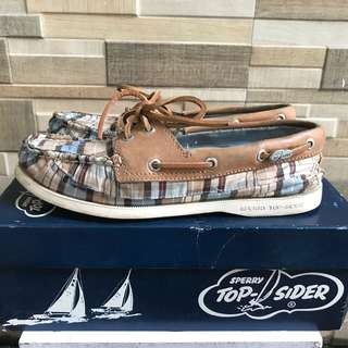 Authentic Sperry Top Sider Blue Patch Plaid/Tan
