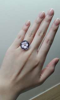 Floral Marble Flower Ring with Silver Band Charm (Blue, Pink, White, Black)