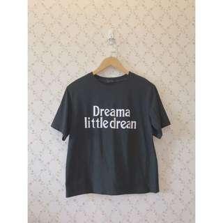 🚚 全新簡約英文膠印黑色棉質短袖T恤