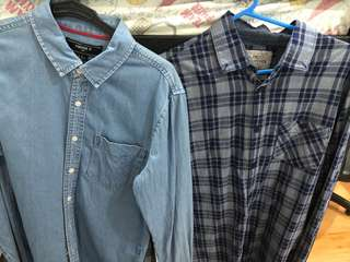 2 for one collared long sleeved blue XS forever 21