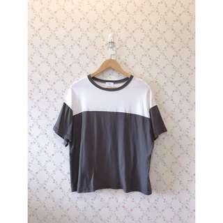 🚚 無印良品風簡約拼接棉質寬鬆短袖T恤