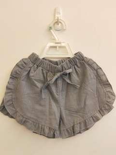 🚚 《新品現貨實拍》藍綠色棉麻荷葉造型短褲(尺寸👉120.130)