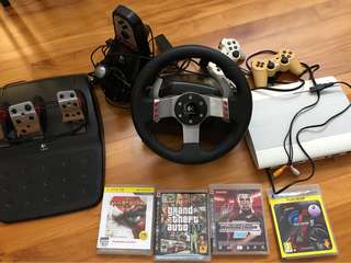 PlayStation 3 + Logitech G25 electronic driving system and four game titles