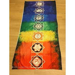 7 Chakra Symbols Coloured Tapestry Mat- Thin