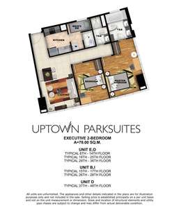 NO DOWNPAYMENT EXECUTIVE 2 BEDROOM IN UPTOWN PARKSUITES BGC