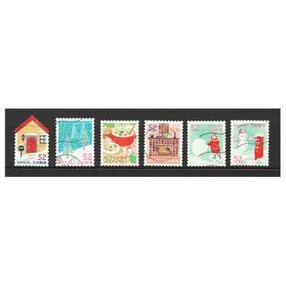 JAPAN 2016 WINTER GREETINGS (FIREPLACE, SNOW, HOT CREAM STEW) 52 YEN COMP. SET OF 6 STAMPS IN FINE USED CONDITION