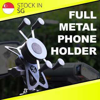 Full Metal Motorcycle Phone Holder/ Phone Mount for Bike, Motorbike, Motorcycle, Scooter