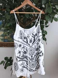 BERSHKA sleeveless white top