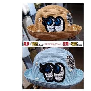 Japan Quality - Topi Pantai Anak Straw Hat Miniso Import
