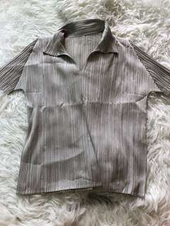 Pleats please Issey Miyake grey top
