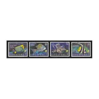 SINGAPORE 1995 MARINE FISH COMP. SET OF 4 STAMPS SC#733-736 IN FINE USED CONDITION