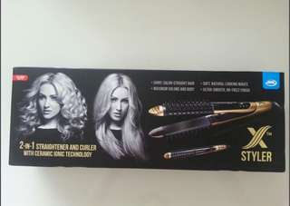 2-in-1 Straightener and Curler with ceramic ionic technology