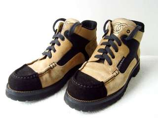 Vintage Chanel淺啡x黑色麂皮复古sneakers/短boots