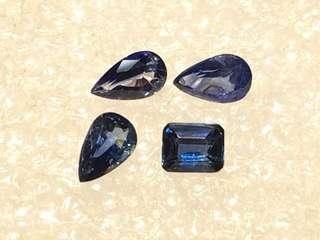 天然藍寶石,四粒約重1.2卡