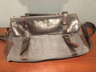 Leather & Canvas Satchel Bag