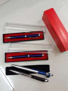 Blue and Silver Business Pen with box (1 set isi 3 buah)