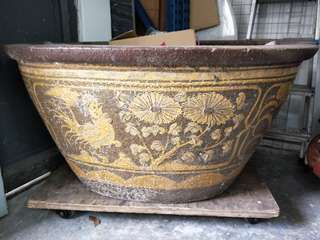 Antique oval water jar