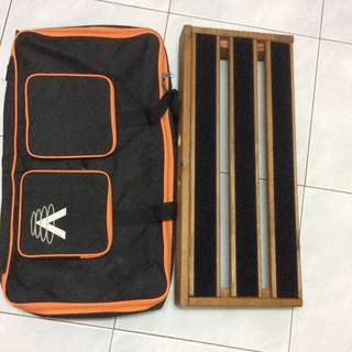 Custom Wood Pedalboard with Softcase
