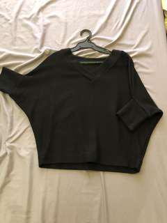 Knit 3/4 Sleeve Black Sweater