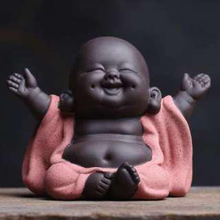 Happy Little Monk Figurine Ceramic Statue #SINGLES1111