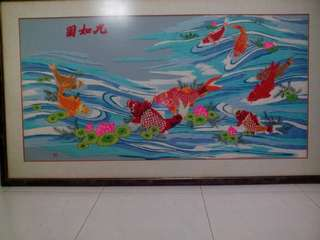 (Jiu rú tú) 9 lucky fishes Painting hand stiched