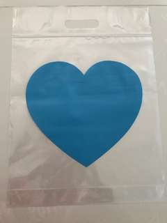 A4 Size Ziplock Bags/Carriers/Goodies Bags with Handle - Blue Heart Design