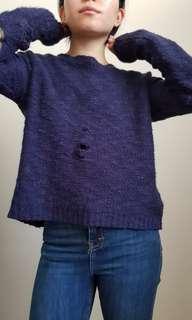 Blue ragged sweater size S
