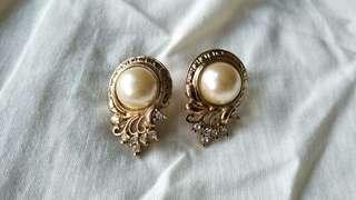 珍珠小碎鑽金色古董夾式耳環