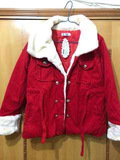 毛毛紅色外套