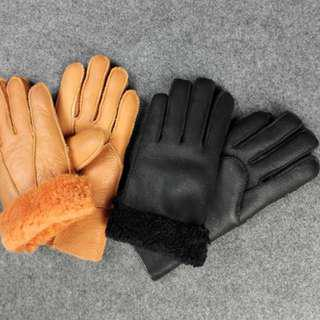 Black Leather & Wool Glove for Kids #Caroupay