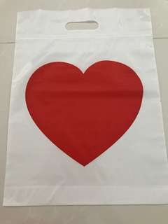 A4 Size Ziplock Bags/Carriers/Goodies Bags with Handle - Red Heart Design