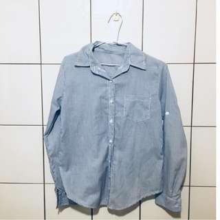 淺藍輕薄條紋休閒襯衫