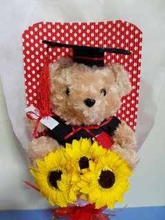 Hairy Hair Bear Graduation Bouquet