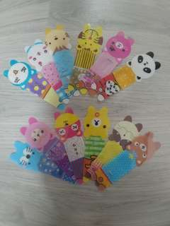 CUTE ANIMAL CHARACTERS PLASTIC BOOKMARKS SET 2 - 1 PACK OF 12 PCS OF ALL DIFFERENT DESIGNS @ $2 PER SET!!!