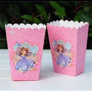 Sofia party supplies - popcorn boxes / candy bar deco / party deco