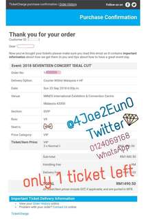 【WTS】SEVENTEEN IDEAL CUT IN MALAYSIA VIP V9 TICKET