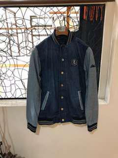 Denim Varsity Bomber Jacket