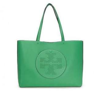 Tas Tory Burch Leather Tote with Perforated Logo