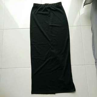 Zalia black long pencil skirt