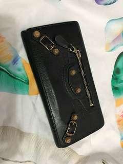 二手/巴黎世家 Balenciaga wallet / 長銀包 /黑色/絕版玫瑰釘