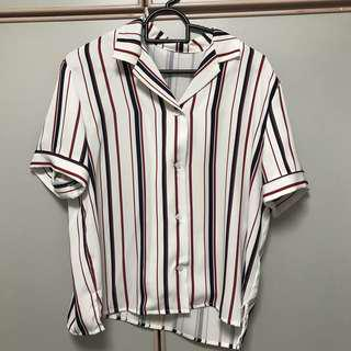 White Blouse with red and blue stripes