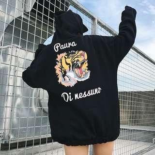 M L XL XXL black hoodie top