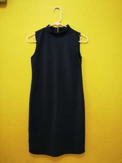 Mock Neck Dress - Navy Blue