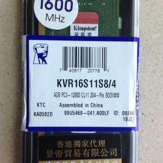 99%新 Kingston 4GB 記憶體 1600MHz DDR3 (PC3-12800) SODIMM RAM