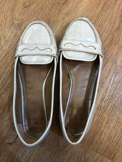 Zara White Patent Loafers