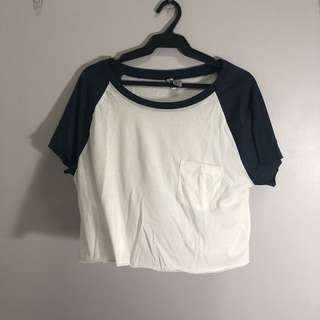 H&M Baseball Sleeves Cropped Top