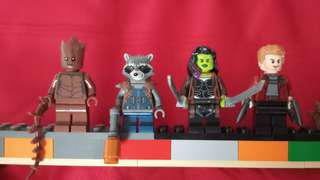(4 minifig cheapest) Lego minifig guardians of galaxy  - star lord, groot, gamora, raccoon from set 76102 & 76107 avengers infinity war